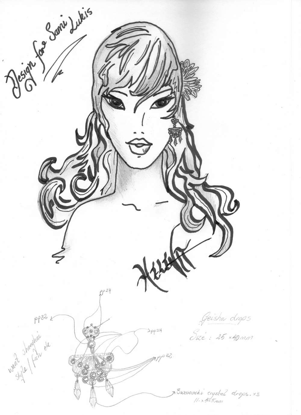 Curvaceous Design Portfolio - A concept drawing is created.....and the detailed sketch of the earring.