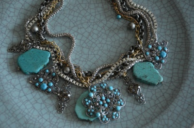 Curvaceous Design Portfolio - Turquoise statement necklace using Swarovski Elements.