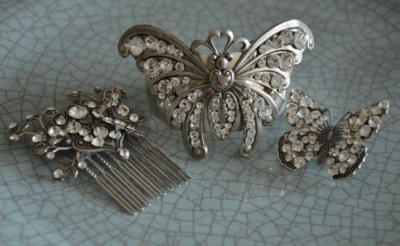 Curvaceous Design Portfolio - Curvaceous Design Secret Garden hair comb, Butterfly cuff and small butterfly brooch all hand designed and created. Encrusted with Swarovski Elements.