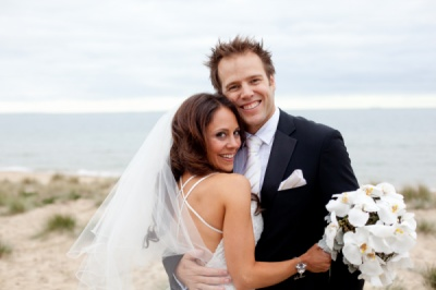 Curvaceous Design Portfolio - Curvaceous Design beautiful bride wearing Majella bracelet and Laina earrings.