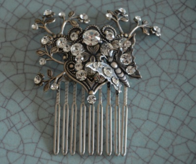 Curvaceous Design Portfolio - Curvaceous Design Secret Garden hair comb. Detailed with Swarovski Elements.