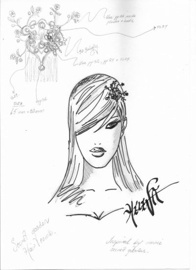 Curvaceous Design Portfolio - Raw sketch from Curvaceous Design of Secret Garden hair comb.Using Swarovski Elements.