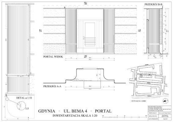 Oktawia Czuba - Inwentaryzacja portalu drzwiowego przy ulicy 10 lutego 35/35a w Gdyni. / Heritage recording of tenement house in Gdynia, 10 lutego 35/25a We współpracy z Olgą Bazarko. / In cooperation with Olga Bazarko. ROK: 2013 / YEAR: 2013