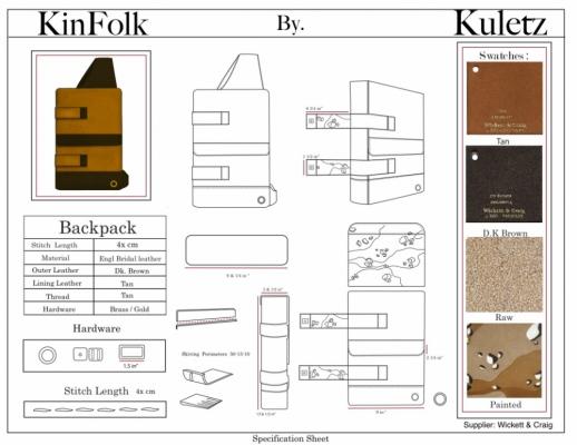 Brendan Kuletz - Specification Sheet-Backpack