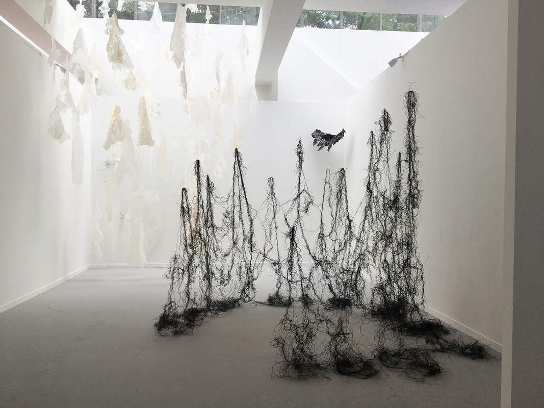 Katarina Elvira Gudrunsdotter - Installation, Peripatetic Poem, (127 pieces of plastic membranes and strings washed up on the Swedish west coast, origin unknown) Masters Degree Show, Edinburgh College of Art, University of Edinburgh, 2017