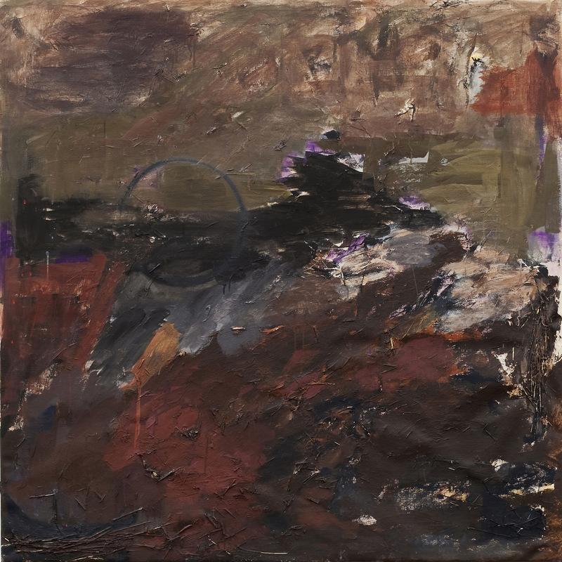 Katarina Elvira Gudrunsdotter - Movement of Nature, Earth, Painting (oil, tempera, grass on canvas) 145x145, Gothenburg School or Art, 2011