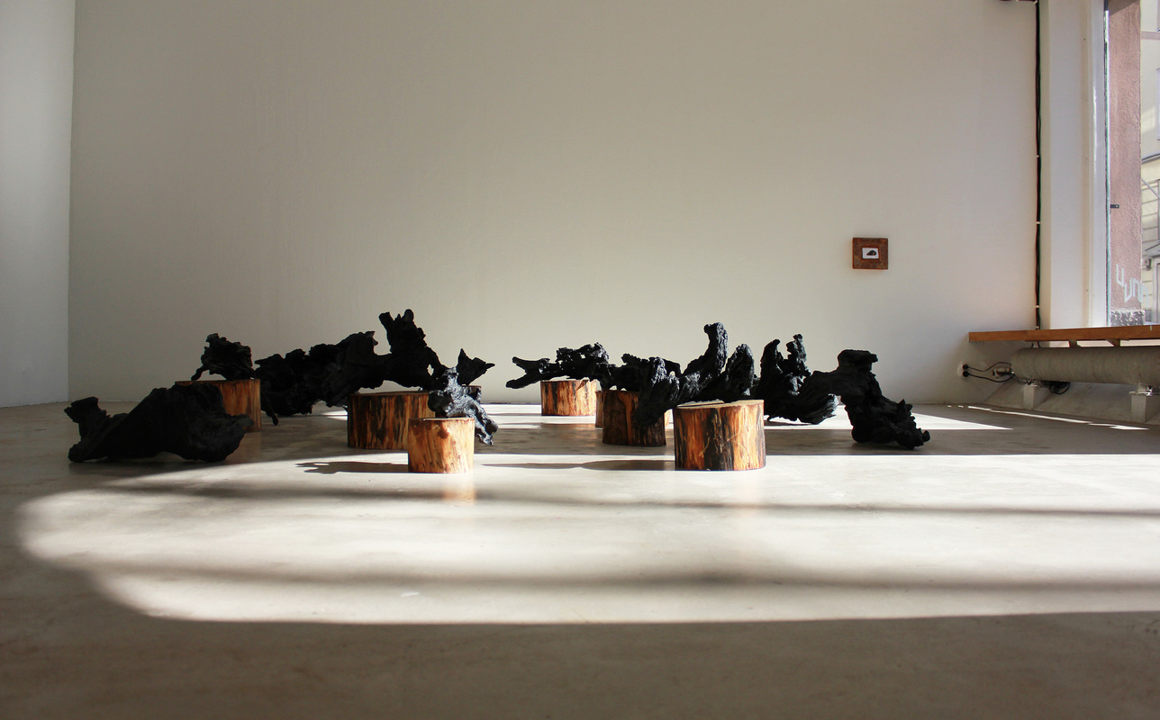 Katarina Elvira Gudrunsdotter - Solo Exhibition, Installation, The Nature of Love, MUU Gallery, Helsinki, Finland, 2019 (roots from oak trees, pine, acrylic, varnish)