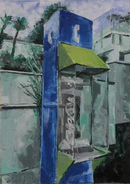 // Bruno Truyts // visual artist // - Sideways. Phone in Spain - 50 X 70 cm - Oil on Board - 2010