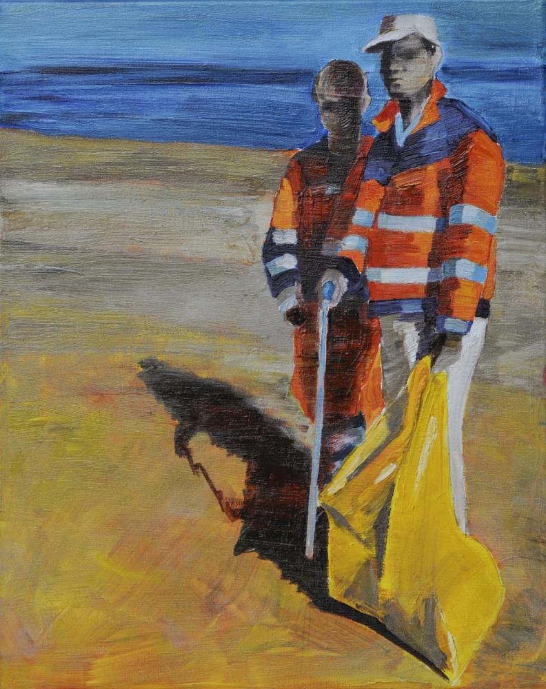 // Bruno Truyts // visual artist // - At work. Beach brigade - 40 X 50 cm - Acryl & oil on canvas - 2012