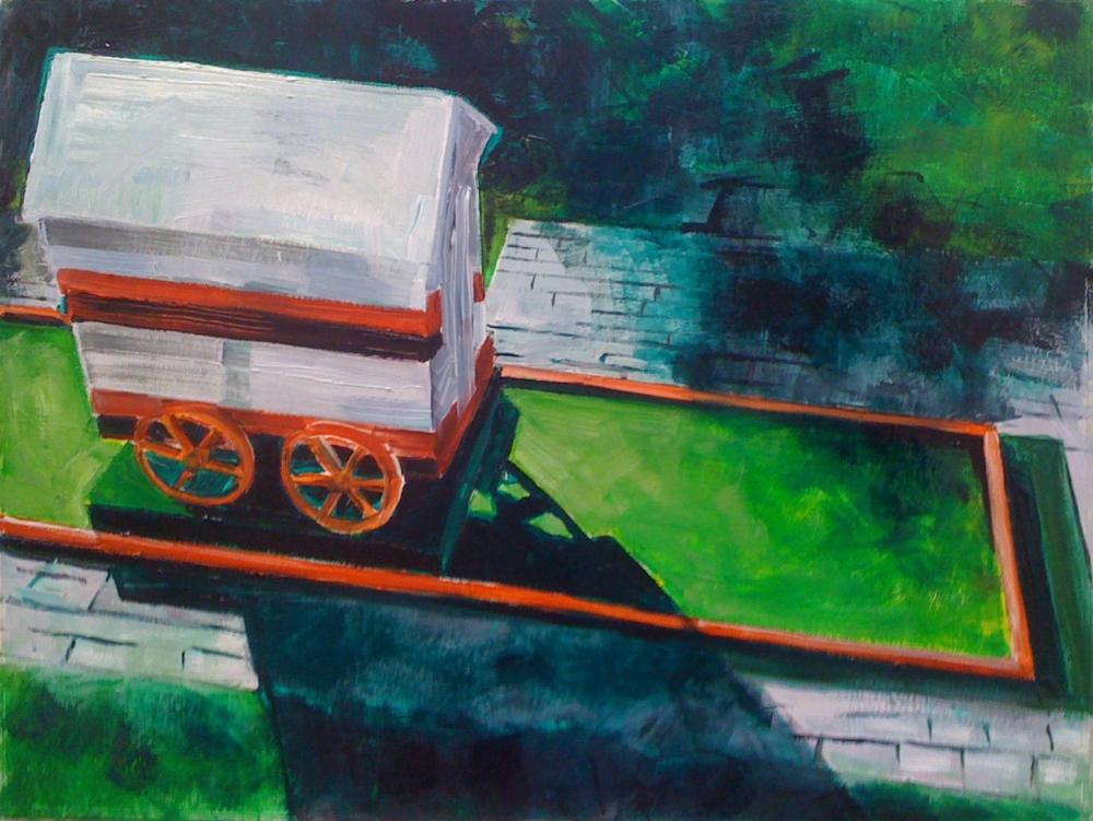 // Bruno Truyts // visual artist // - Sideways. Mini golf house - 50 X 70 cm - Acryl & oil on board