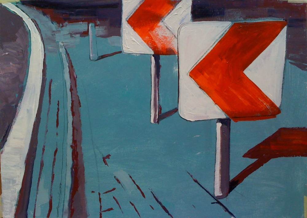 // Bruno Truyts // visual artist // - Sideways. Red sign - 50 X 70 cm - Acryl & oil on board