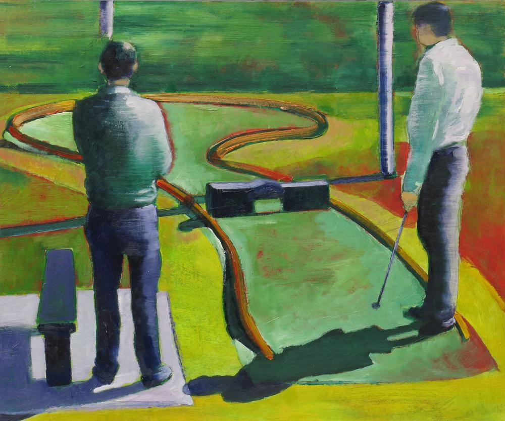 // Bruno Truyts // visual artist // - Mini golf - 49,5 X 59,5 cm - Acryl & oil on board - 2013