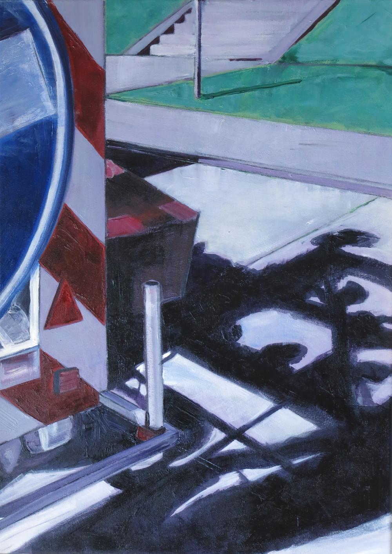 // Bruno Truyts // visual artist // - Sideways. Blue sign - 50 X 70 cm - Acryl & oil on board - 2011