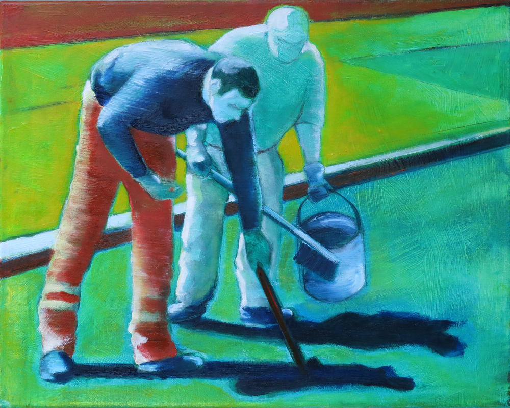 // Bruno Truyts // visual artist // - At work. Repairing cracks - 40 X 50 cm - Acryl & oil on board - 2013