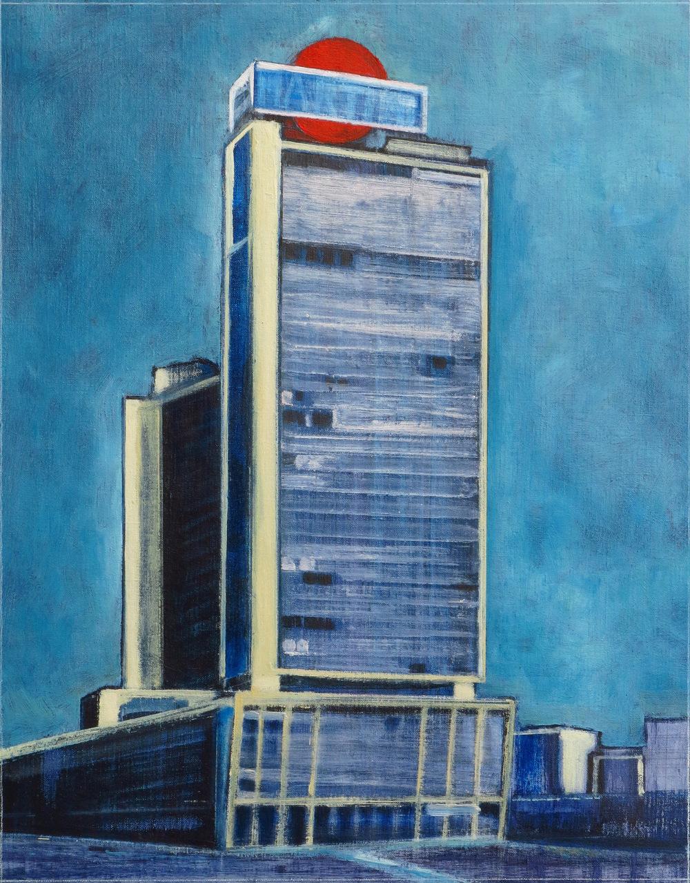 // Bruno Truyts // visual artist // - Modern building bxl - 54 X 70 cm - Acryl & oil on linnen - 2015