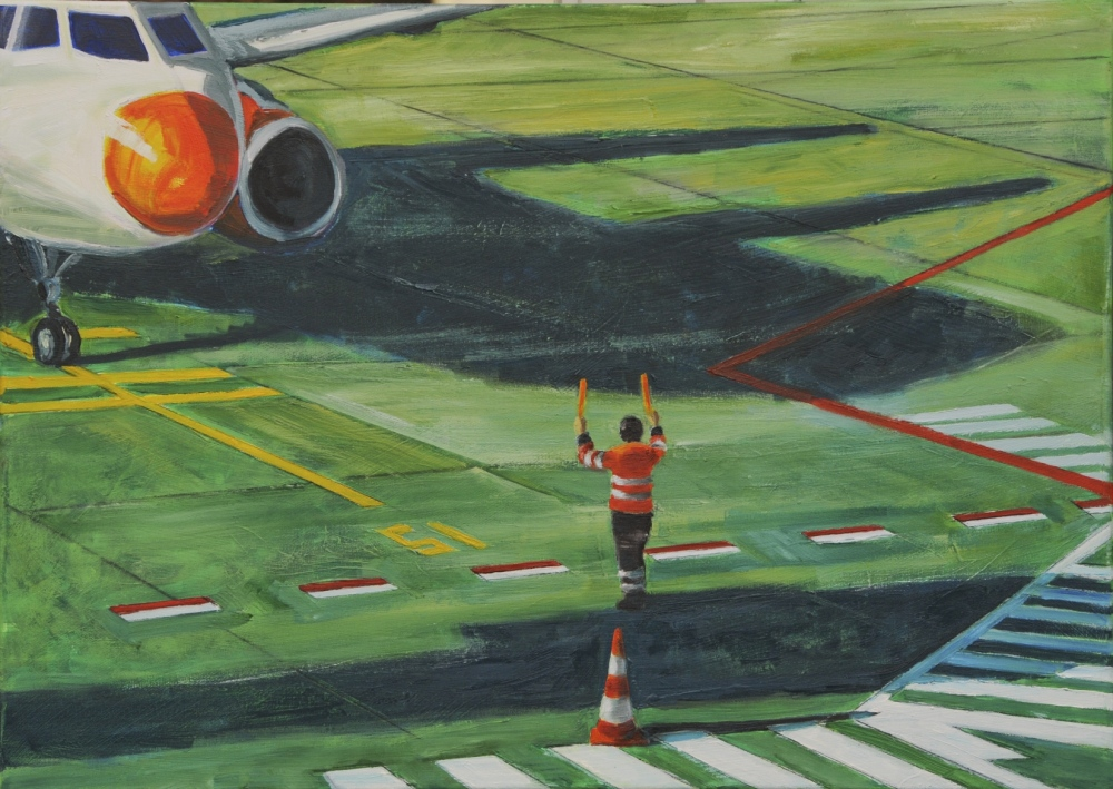 // Bruno Truyts // visual artist // - At work. Airport Berlin - 50 X 70 cm - Acryl & oil on canvas - 2012