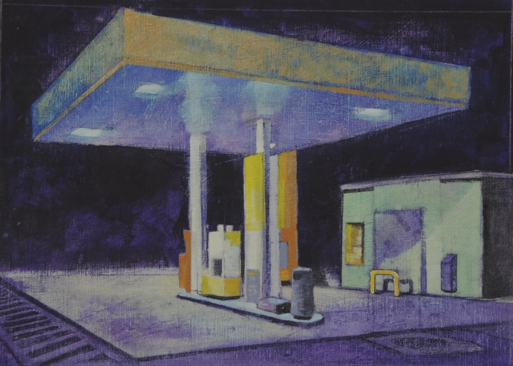 // Bruno Truyts // visual artist // - Gas station by night - 47 X 65 cm - Acryl & oil on canvas - 2013