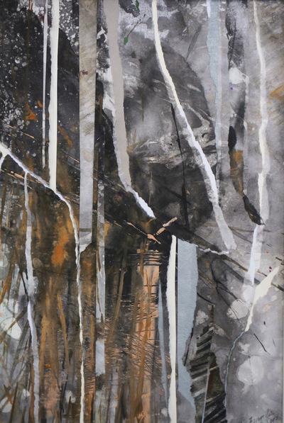Alicja Jeziorecka - kolaż papierowy,farby akrylowe, format A4