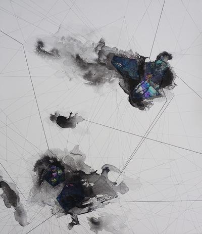 Alicja Jeziorecka - Płótno,czarny tusz, farby akrylowe, pisaki. Format 80x80 cm