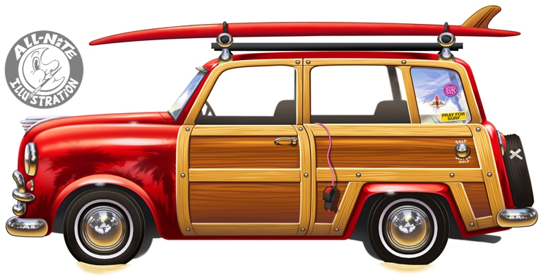 Geoffrey Brittingham all-nite illustration - Surf Wagon