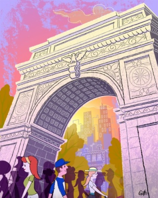 Geoffrey Brittingham all-nite illustration - Washington Square.