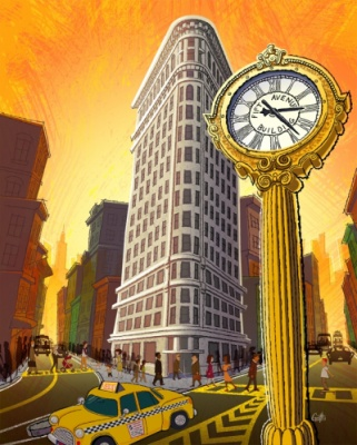 Geoffrey Brittingham all-nite illustration - The Flatiron Building.