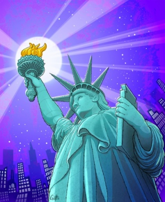 Geoffrey Brittingham all-nite illustration - Statue of Liberty.