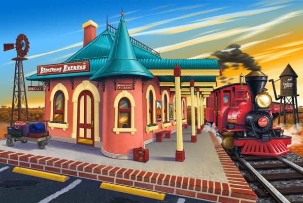 Geoffrey Brittingham all-nite illustration - Australian train depot.
