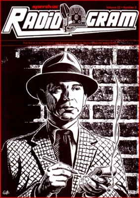 Geoffrey Brittingham all-nite illustration - RadioGram cover 50th anniversary of Dragnet.