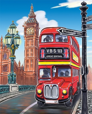 Geoffrey Brittingham all-nite illustration - Bus and Clock Tower.