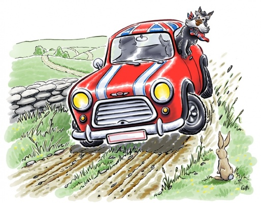 Geoffrey Brittingham all-nite illustration - Mini on a country road.