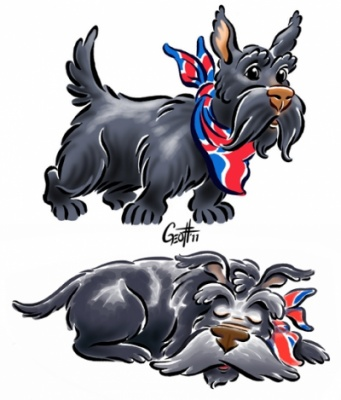 Geoffrey Brittingham all-nite illustration - Scottie dog