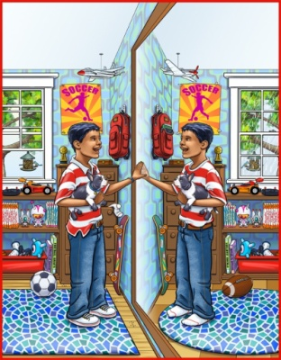 Geoffrey Brittingham all-nite illustration - Whats Different Mirror.