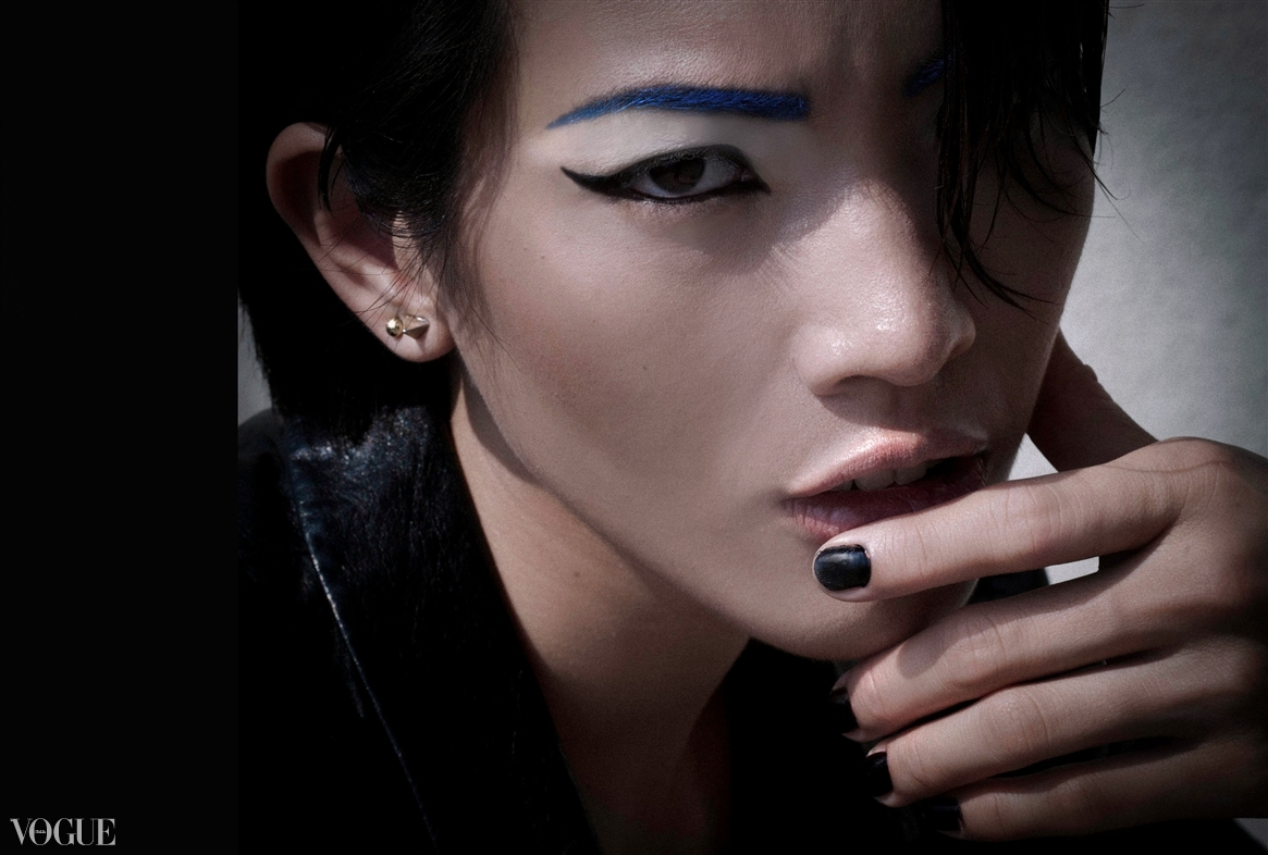 Dilokrit Barose Photos - Mondrian inspired graphic make up with Blue, White, Black and Grey.