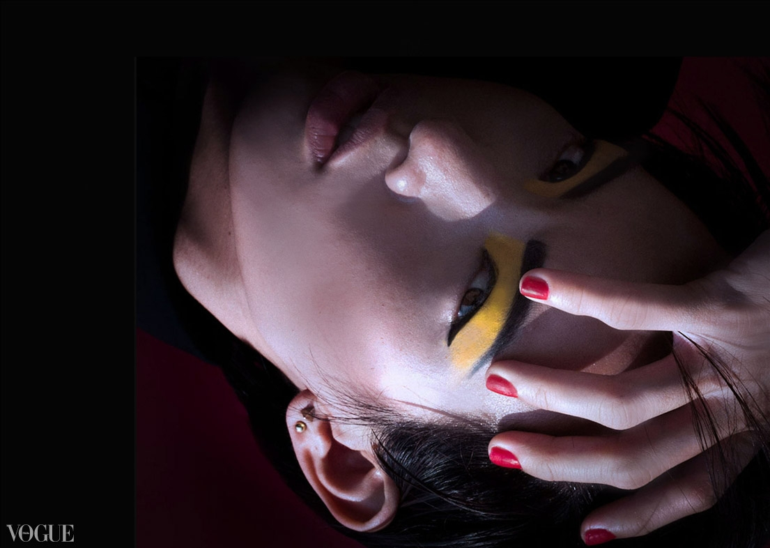 Dilokrit Barose Photos - Mondrian inspired graphic make up with Red, Yellow, White and Black.