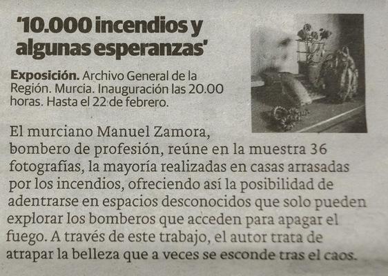 manuel zamora - 10.000 incendios y algunas esperanzas Juan Bautista Sanz Rincón del Arte. Diario La Opinión de Murcia