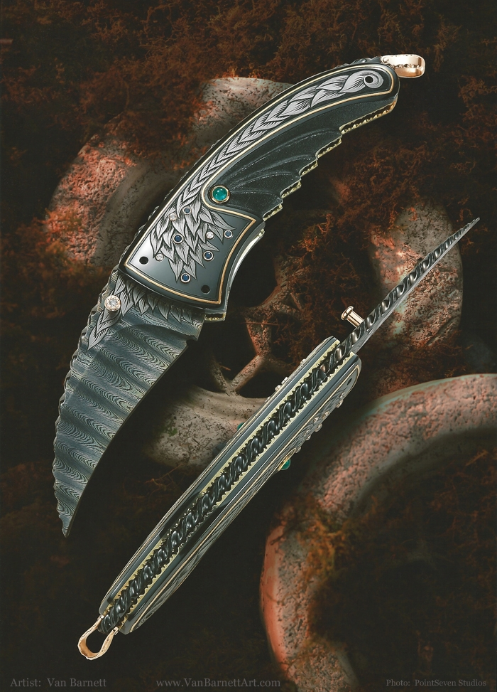 The Art of Van Barnett - Raven - first done in 1998. Only 12 made in total over the years. None exactly alike - all had different embellishments and sizes. This was one of many knives to be copied by foreign factories. They copied this one so exact that from about six feet away you can not tell its not the real one. This piece brought in a new style in the 90s, with the crescent shapes in the blade, handle and overall profile of the knife. It gives a very pleasing look to the eye. The Raven won Best of Show at the Florida Art Knife Show. This knife and the Black Hawk (below) got a lot of press in magazines all around the world when they came out. They were very new and different at the time, like Golden Arrow and Early Fall before them.
