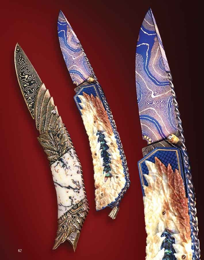The Art of Van Barnett - Early Fall and Golden Arrow - two folding knives from the mid 1990s that changed the way a lot of people make their folding knives today. These knives had a new style of full 3-D carving in handles and blades - something you see a lot of today. Early Fall also had something that few had seen at the time which was Nitre Blueing in multi colors on the blade. This knife was made with a dagger called Living Proof. They both had the full color blades. These were seen in a lot of publications all around the world.