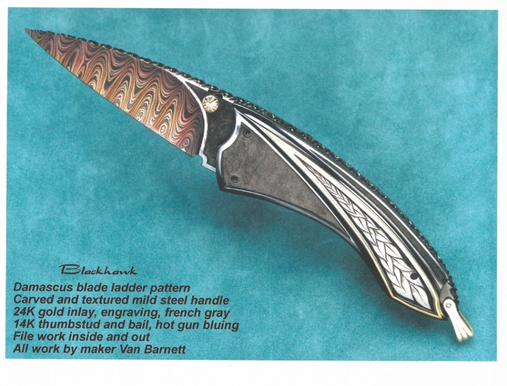 The Art of Van Barnett - Black Hawk - another design from the 90s that was different enough to get stolen from a photo, and copied by a foreign factory. A lot of people have made variations of this over the years.