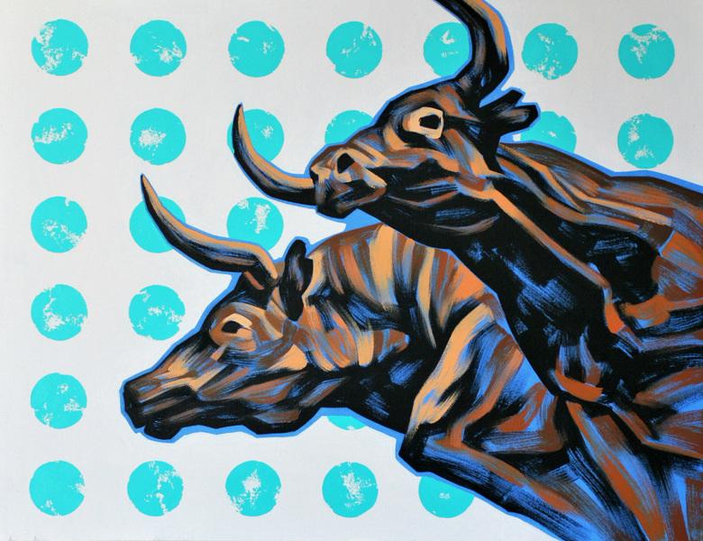 Ville Lehtinen - Bulls on parade, oil on canvas, 70cm x 90cm, 2019