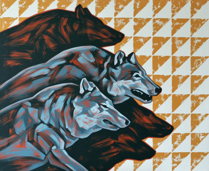 Ville Lehtinen - Time of the wolf, oil on canvas, 90cm x 110cm, 2019