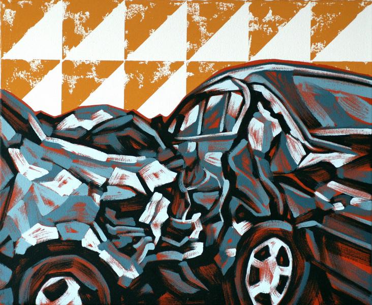 Ville Lehtinen - Crashing, oil on canvas 50cm x 60cm, 2019