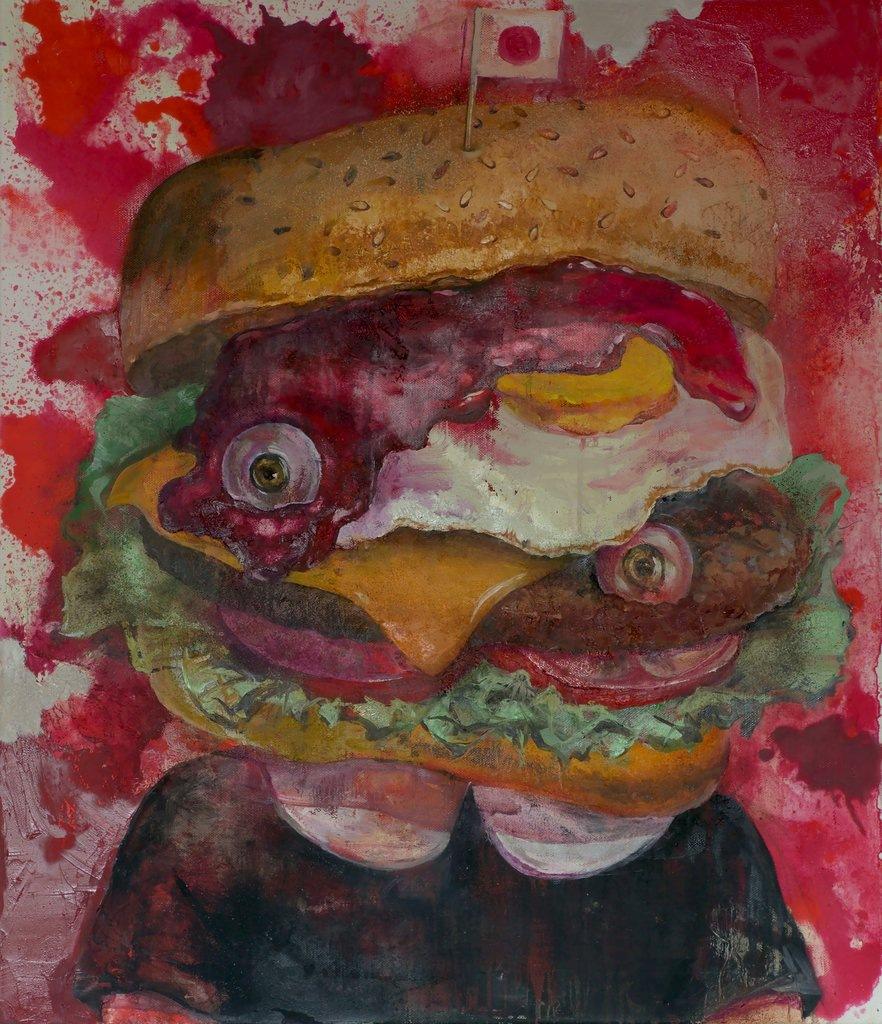 Manami Takamatsu - Ich möchte abnehmen  aber ich möchte essen., 2013, Ölfarbe auf Leinwand, 70×60cm