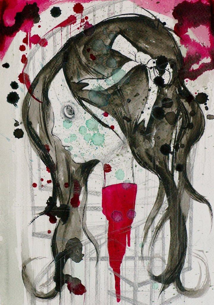 Manami Takamatsu - ohne Ende  2013, Wasserfarbe und Bleistift auf Papier,