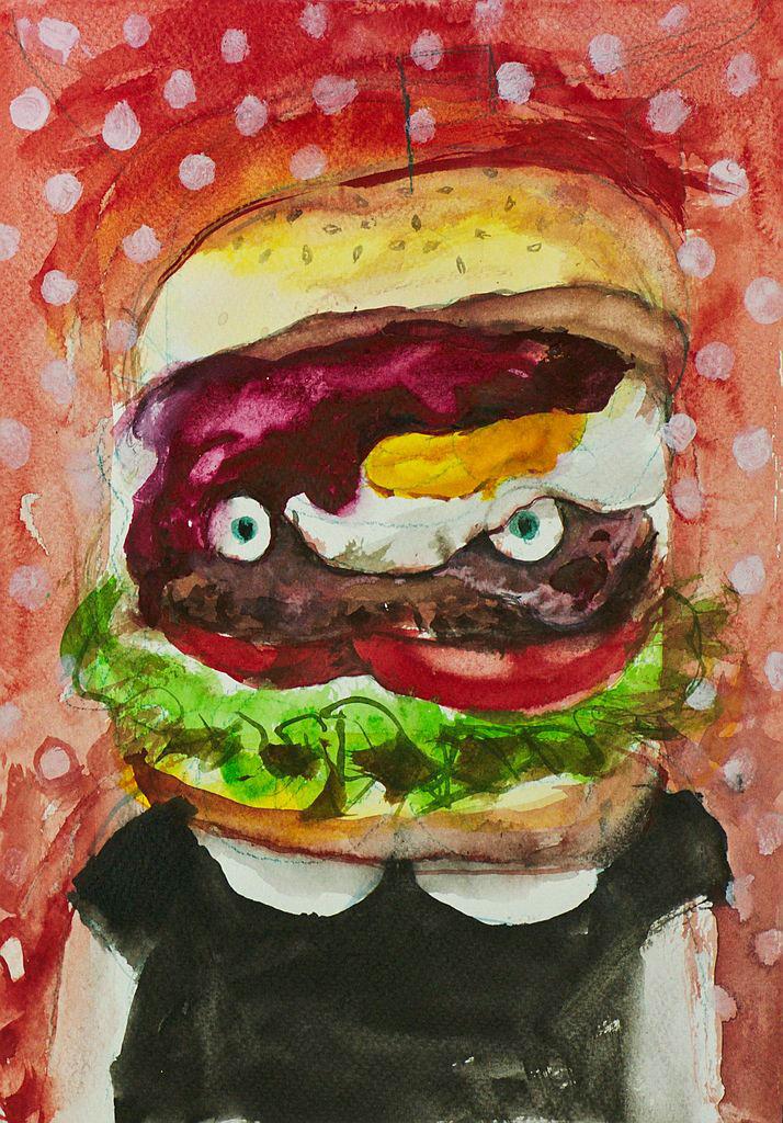 Manami Takamatsu - Ich möchte abnehmen, aber ich möchte essen.  2013, Wasserfarbe auf Papier, 29,5×21cm