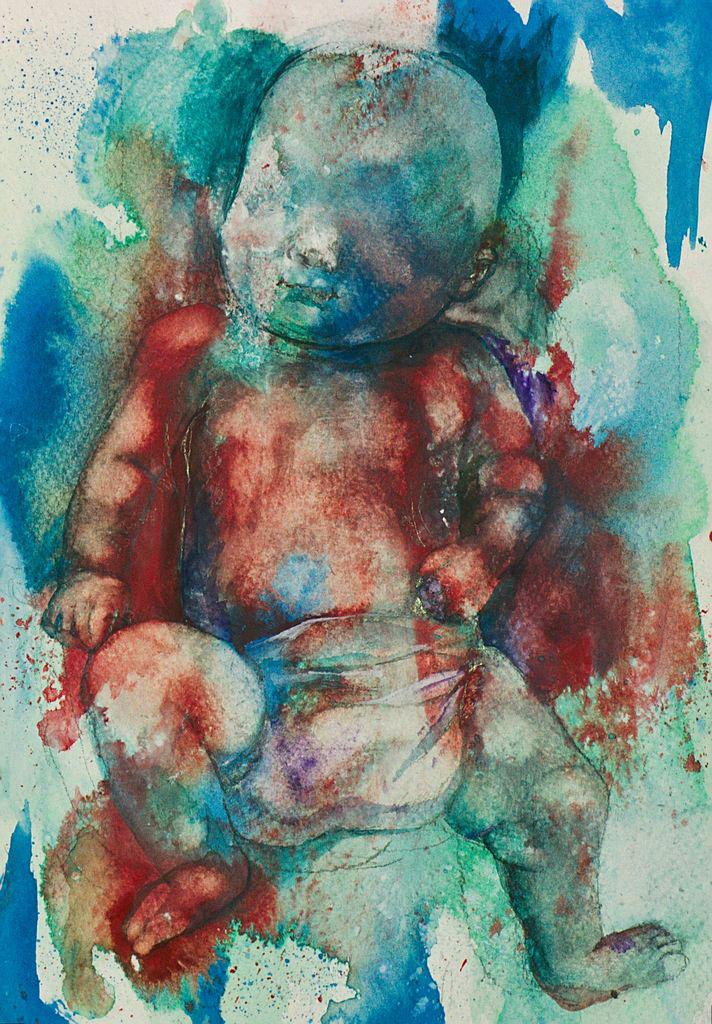 Manami Takamatsu - das Blut  2013, Wasserfarbe auf Papier, 25×17,5cm