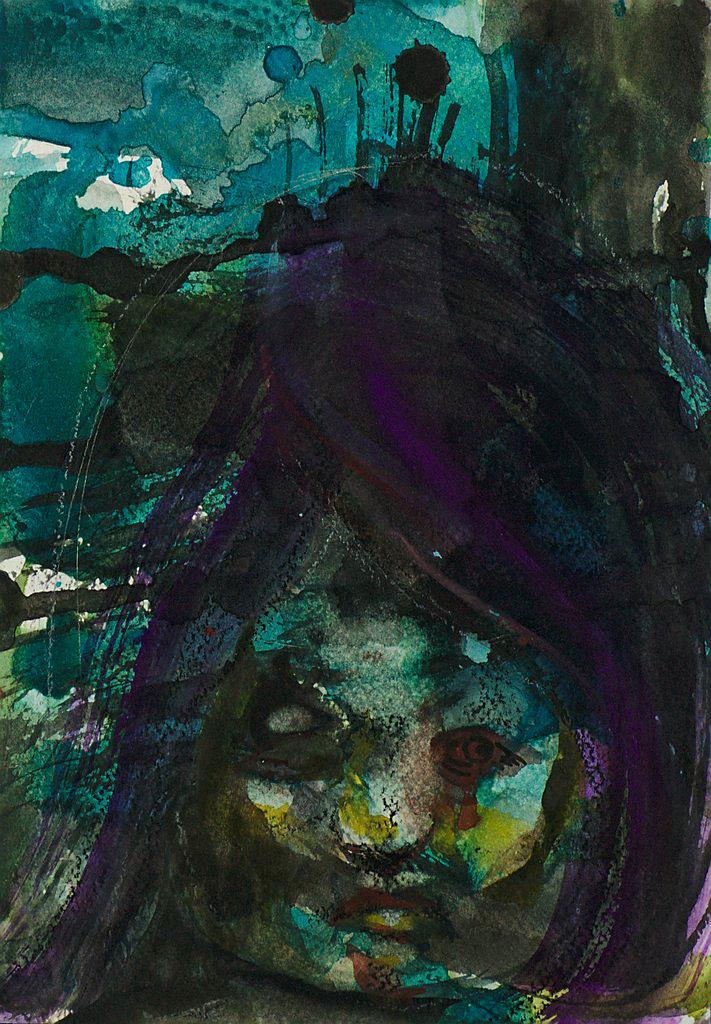 Manami Takamatsu - alles Egal  2013, Wasserfarbe und Wachsmalstift auf Papier, 25×17,5cm