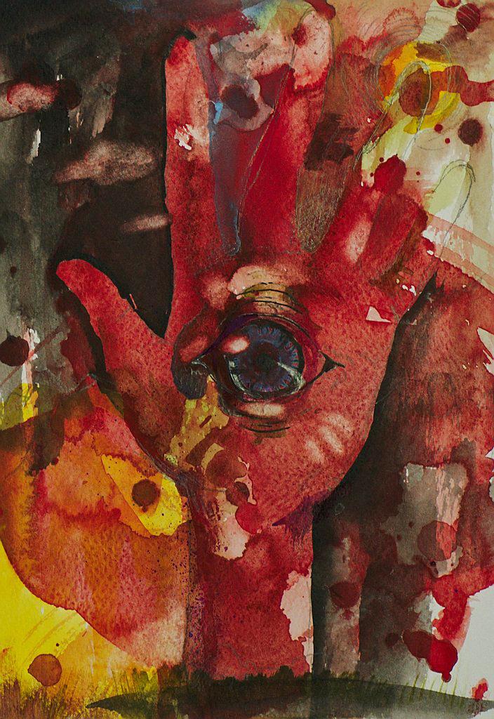 Manami Takamatsu - die rote Welt  2013, Wasserfarbe auf Papier, 25×17,5cm