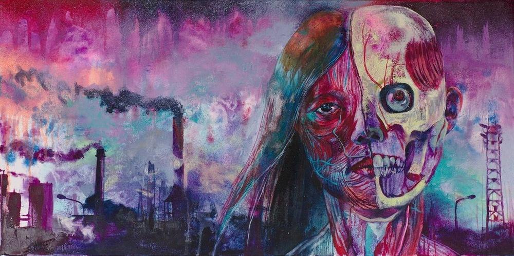 Manami Takamatsu - Ich warte auf den Weltuntergang.  2013,Ölfarbe auf Leinwand, 50×100cm