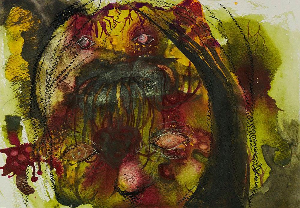 Manami Takamatsu - Herrschaft des Unbewustsein  2013, Wasserfarbe und Wachsmalstift auf Papier, 25×17,5cm